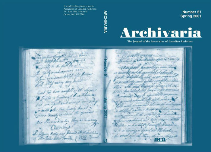 Archivaria 51 front cover