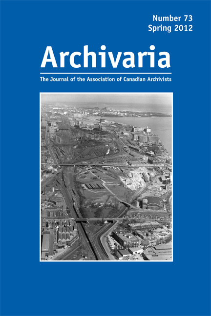 Archivaria 73 cover