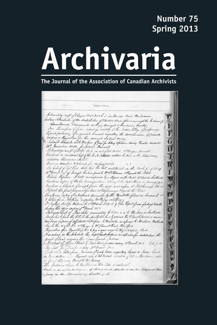 Archivaria 75 cover